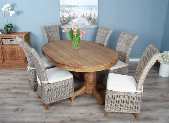 1.8m Reclaimed Teak Oval Pedestal Table with 6 Latifa Dining Chairs