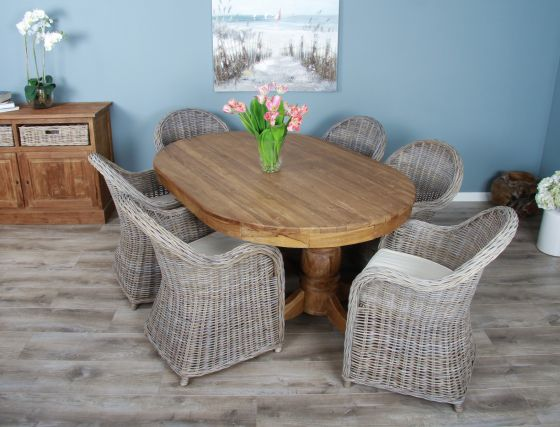 1.8m Reclaimed Teak Oval Pedestal Dining Table with 6 Riviera Chairs