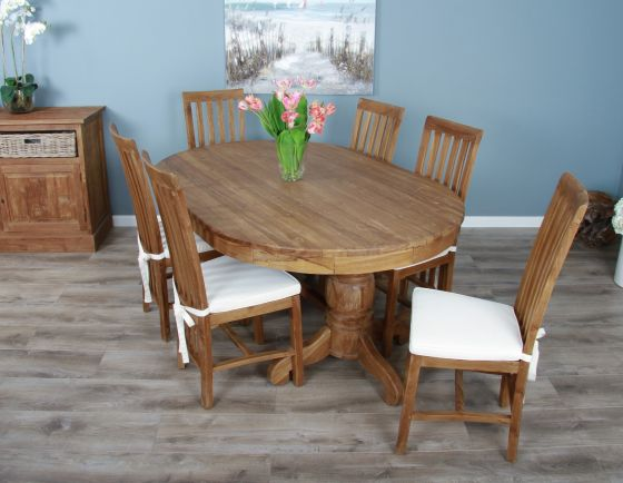 1.8m Reclaimed Teak Oval Pedestal Dining Table with 6 or 8 Santos Chairs