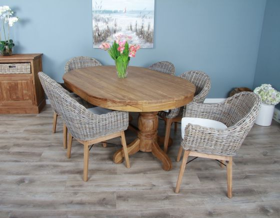 1.8m Reclaimed Teak Oval Pedestal Dining Table with 6 Scandi Armchairs