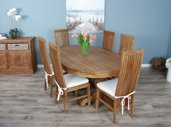 1.8m Reclaimed Teak Oval Pedestal Dining Table with 6 or 8 Vikka Chairs
