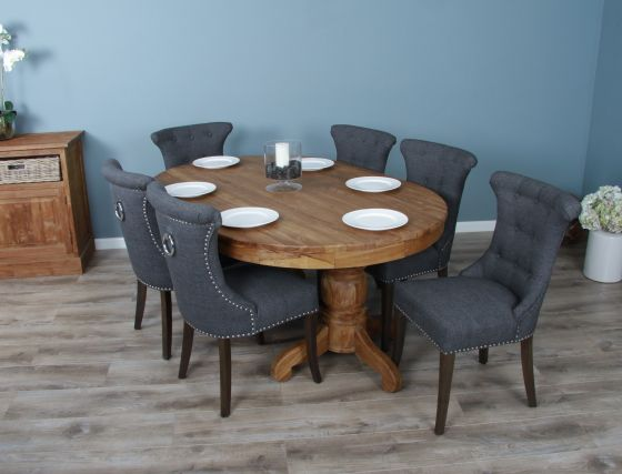 1.8m Reclaimed Teak Oval Pedestal Dining Table with 6 Windsor Ring Back Chairs
