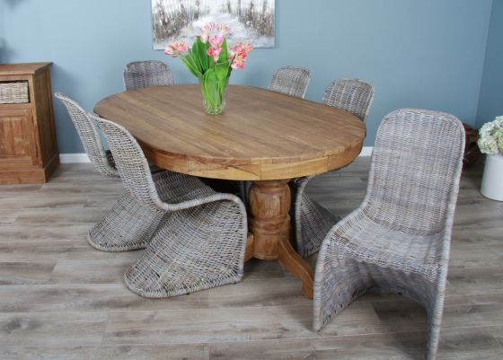 1.8m Reclaimed Teak Oval Pedestal Dining Table with 6 Zorro Chairs