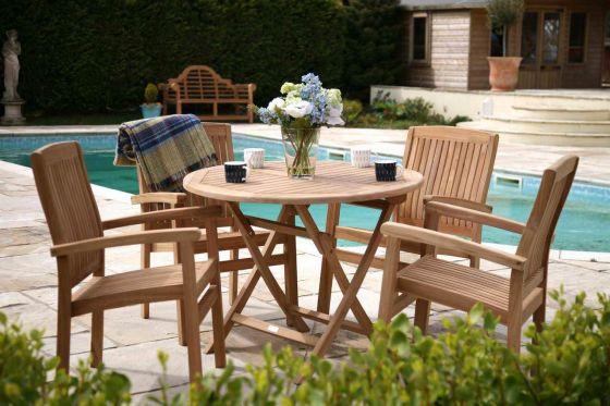 1m Teak Circular Folding Table with 4 Marley Armchairs