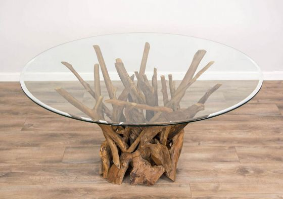 1.5m Reclaimed Teak Root Piece Circular Dining Table
