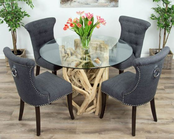 1.2m Java Root Circular Dining Table with 4 or 6 Dove Grey Windsor Ring Back Chairs
