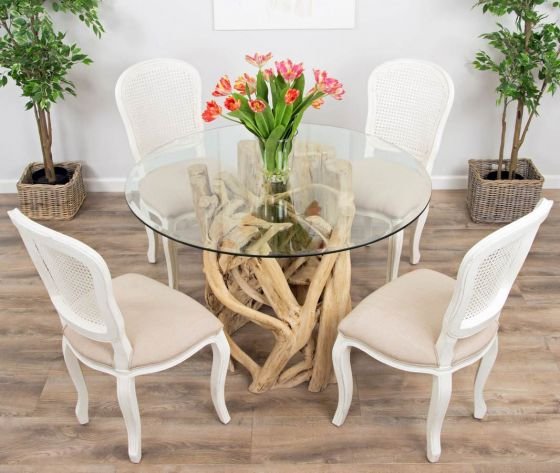 1.2m Java Root Circular Dining Table with 4 or 6 Murano Chairs