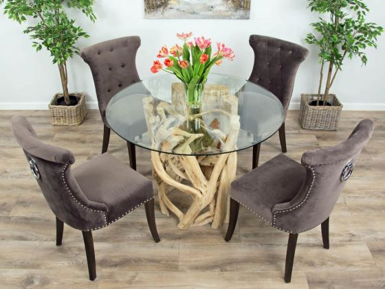 1.2m Java Root Circular Dining Table with 4 or 6 Velveteen Ring Back Dining Chairs