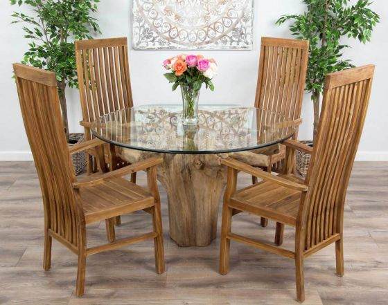 1.2m Reclaimed Teak Flute Root Circular Dining Table with 4 Vikka Armchairs