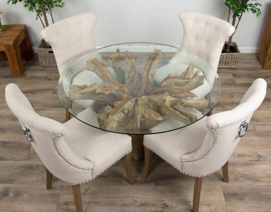 1.2m Reclaimed Teak Flute Root Circular Dining Table with 4 or 6 Natural Ring Back Dining Chairs