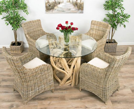 1.2m Java Root Circular Dining Table with 4 or 6 Donna Armchairs