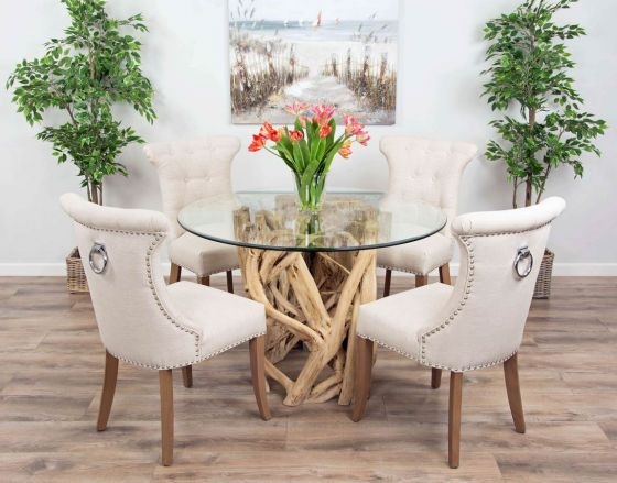 1.2m Java Root Circular Dining Table with 4 or 6 Natural Windsor Ring Back Dining Chairs