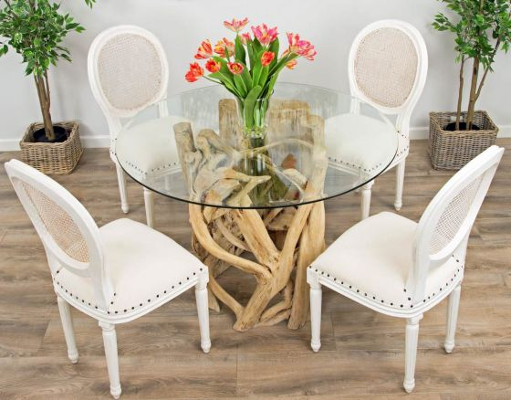 1.2m Java Root Circular Dining Table with 4 or 6 Ellena Dining Chairs