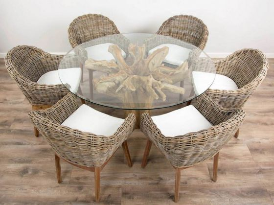 1.5m Reclaimed Teak Flute Root Circular Dining Table with 6 Scandi Armchairs