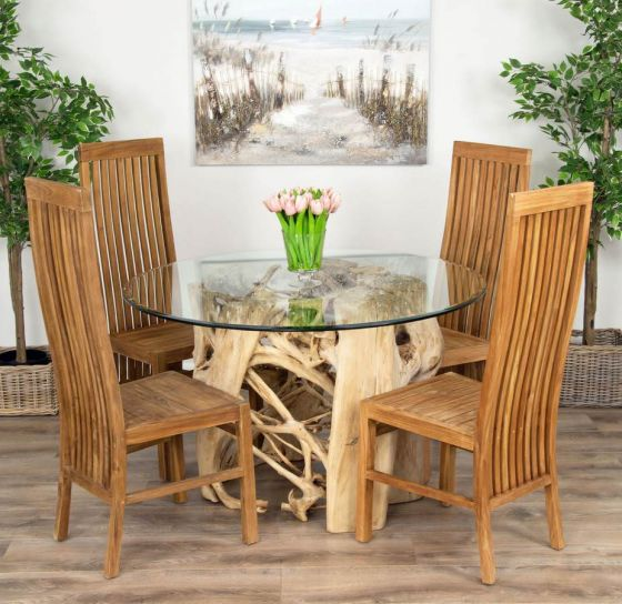 1.2 Java Root Circular Dining Table with 4 Vikka Chairs