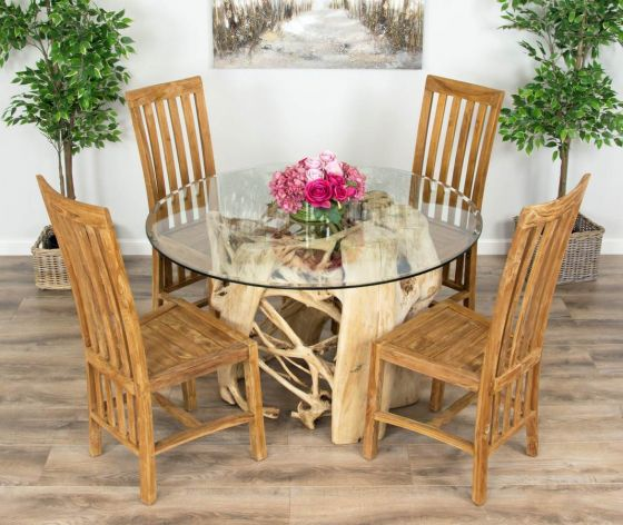 1.2m Java Root Circular Dining Table with 4 Santos Chairs