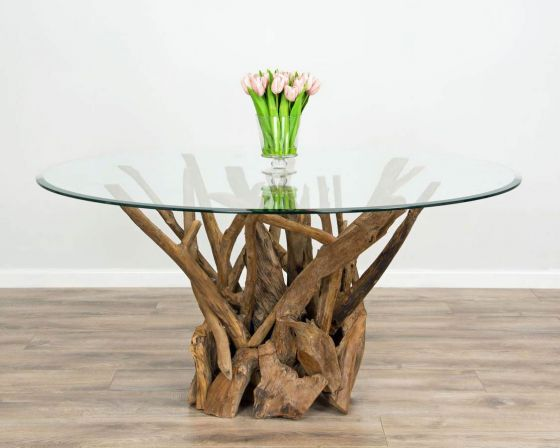 1.2m Reclaimed Teak Root Piece Circular Dining Table
