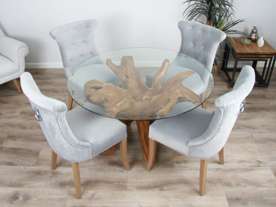 1.2m Reclaimed Teak Root Circular Dining Table with 4 Windsor Ring Back Dining Chairs