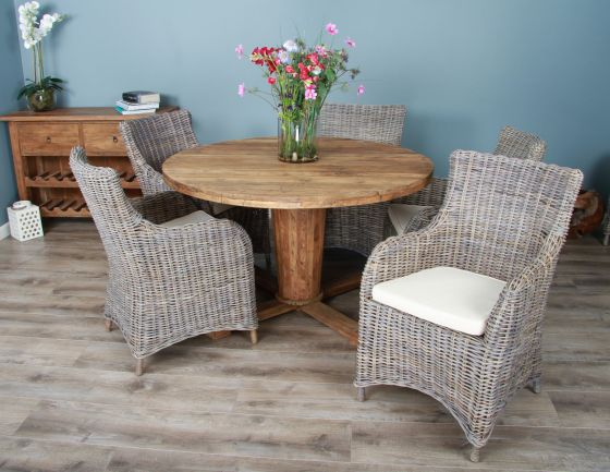 1.3m Reclaimed Teak Circular Character Dining Table with 5 or 6 Donna Chairs