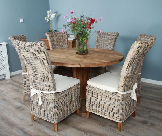 1.3m Reclaimed Teak Circular Character Dining Table with 4 or 6 Latifa Chairs