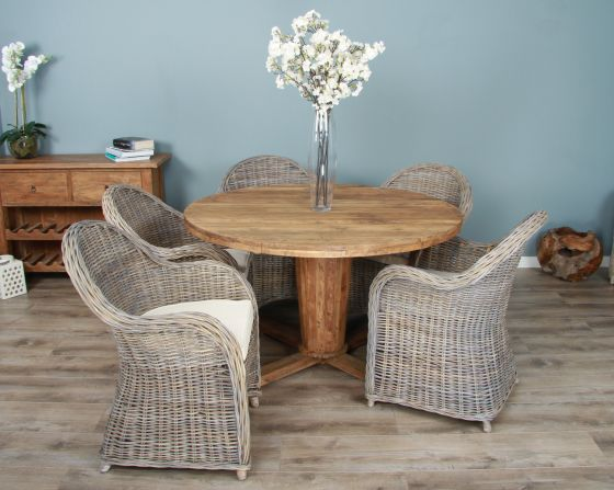 1.3m Reclaimed Teak Circular Character Dining Table with 5 or 6 Riviera Chairs