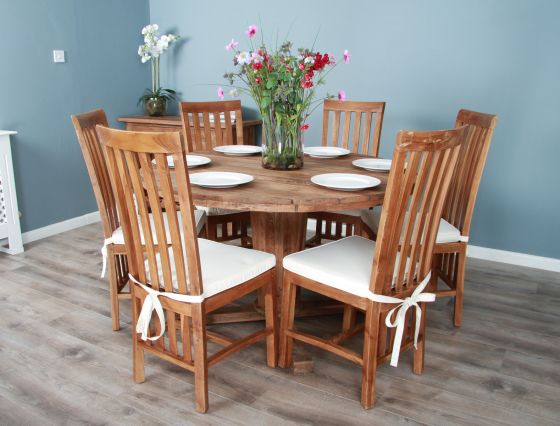 1.3m Reclaimed Teak Circular Character Dining Table with 4 or 6 Santos Chairs