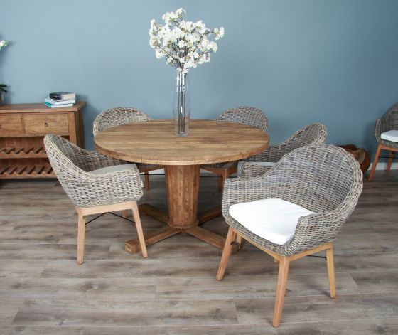 1.3m Reclaimed Teak Circular Character Dining Table with 5 or 6 Scandi Armchairs