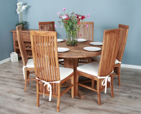 1.3m Reclaimed Teak Circular Character Dining Table with 5 or 6 Vikka Chairs