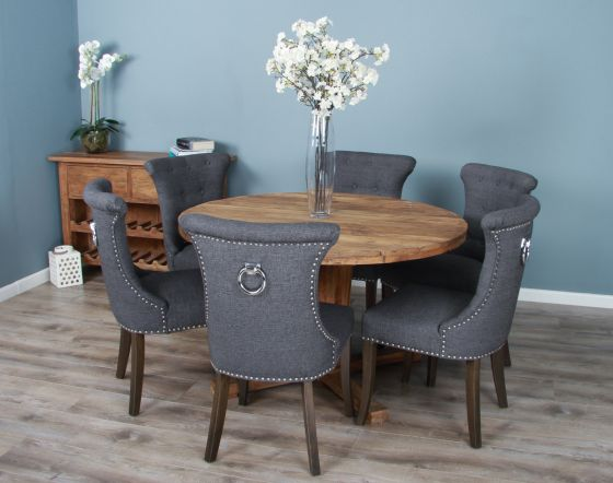 1.3m Reclaimed Teak Circular Character Dining Table with 5 or 6 Windsor Ring Back Chairs