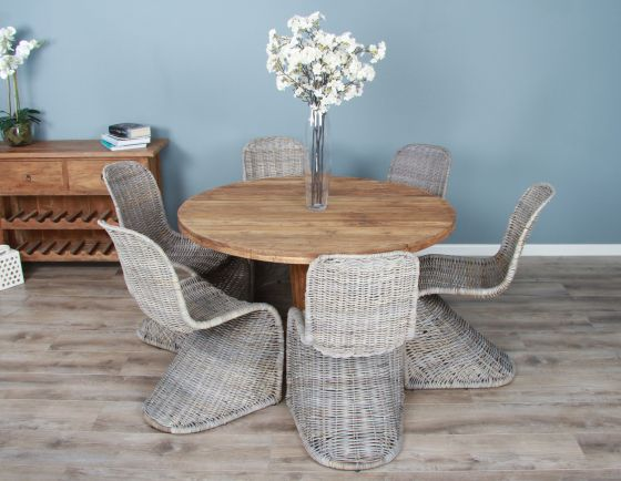 1.3m Reclaimed Teak Circular Character Dining Table with 6 Stackable Zorro Chair