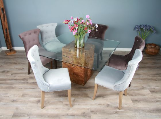 1.4m Reclaimed Teak Root Square Block Dining Table With 6 Windsor Chairs