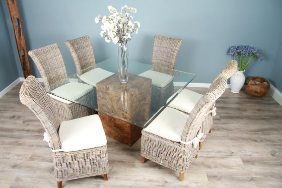 1.4m Reclaimed Teak Root Square Block Dining Table with 6 Latifa Chairs