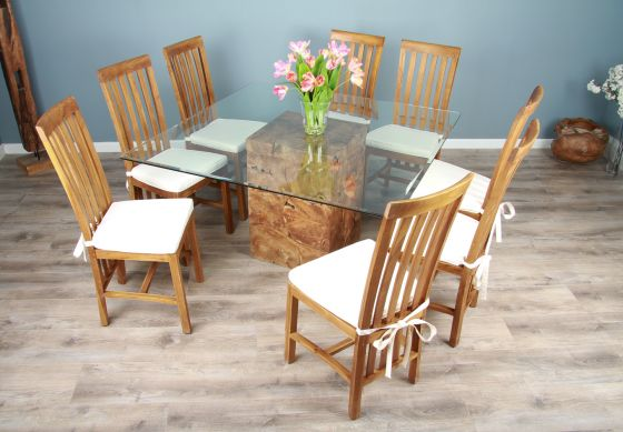 1.4m Square Teak Root Block Dining Table with 6 or 8 Santos Chairs