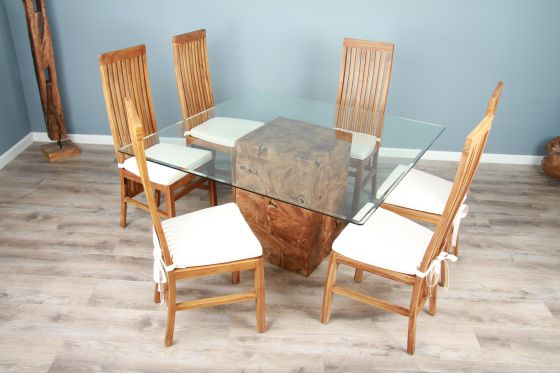 1.4m Reclaimed Teak Root Square Block Dining Table With 6 or 8 Vikka Chairs
