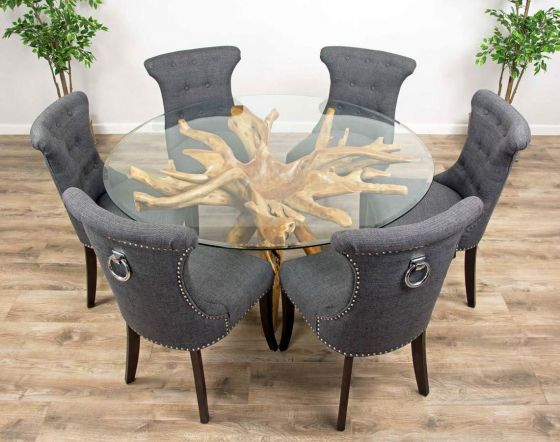 1.5m Reclaimed Teak Root Circular Dining Table with 6 Dove Grey Windsor Ring Back Dining Chairs