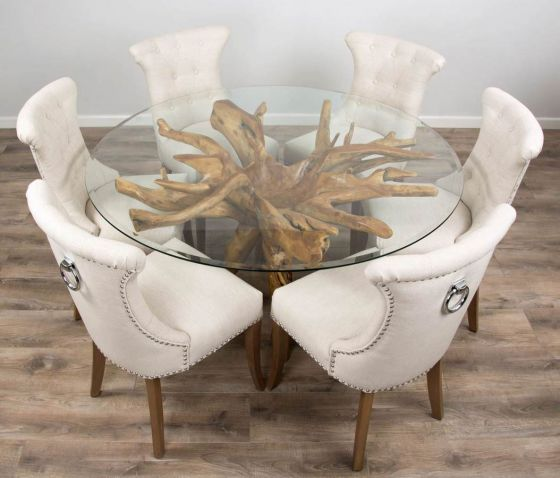 1.5m Reclaimed Teak Root Circular Dining Table with 6 Natural Windsor Ring Back Dining Chairs