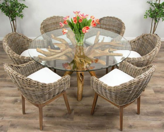 1.5m Reclaimed Teak Root Circular Dining Table with 6 Scandi Armchairs