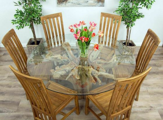 1.5m Reclaimed Teak Flute Root Circular Dining Table with 6 Santos Chairs