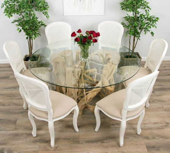 1.5m Java Root Circular Dining Table with 6 Murano Dining Chairs