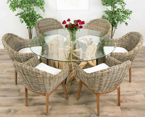 1.5m Java Root Circular Dining Table with 6 Scandi Armchairs