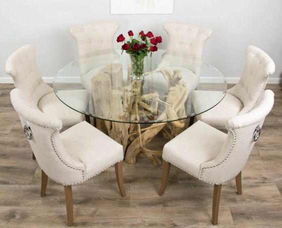 1.5m Java Root Circular Dining Table with 6 Natural Windsor Ring Back Dining Chairs