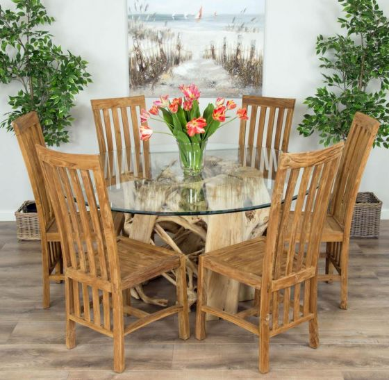 1.5m Java Root Circular Dining Table with 6 Santos Chairs