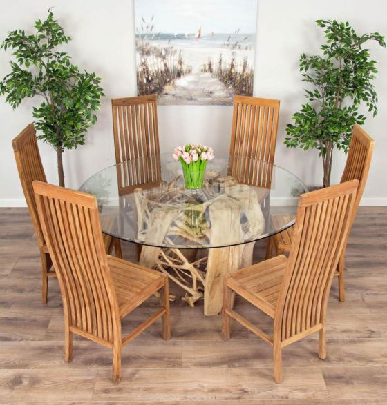 1.5m Java Root Circular Dining Table with 6 Vikka Chairs