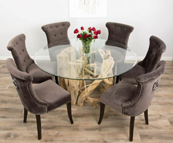 1.5m Java Root Dining Table with 6 Velveteen Ring Back Dining Chairs