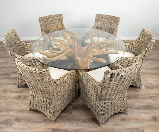 1.5m Reclaimed Teak Root Circular Dining Table with 6 Donna Armchairs