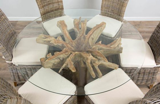 1.5m Reclaimed Teak Flute Root Circular Dining Table with 6 Latifa Chairs