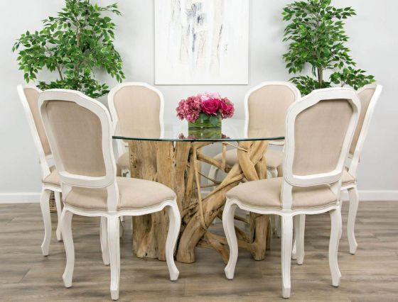 1.5m Java Root Circular Dining Table with 6 Paloma Dining Chairs