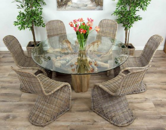 1.5m Reclaimed Teak Flute Root Circular Dining Table with 6 Stackable Zorro Chairs