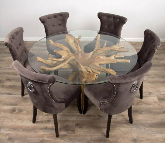 1.5m Reclaimed Teak Root Circular Dining Table with 6 Velveteen Ring Back Dining Chairs