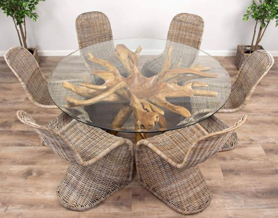 1.5m Reclaimed Teak Root Circular Dining Table with 6 Stackable Zorro Chairs